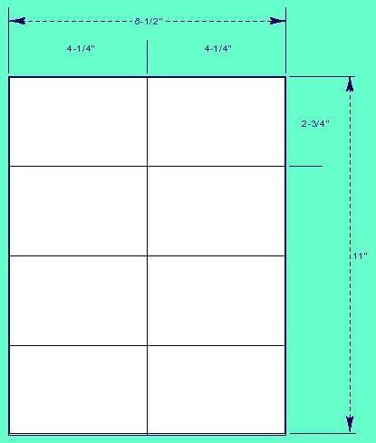 8 Labels Per Sheet, Label Size 4 1/4″ x 2 3/4″
