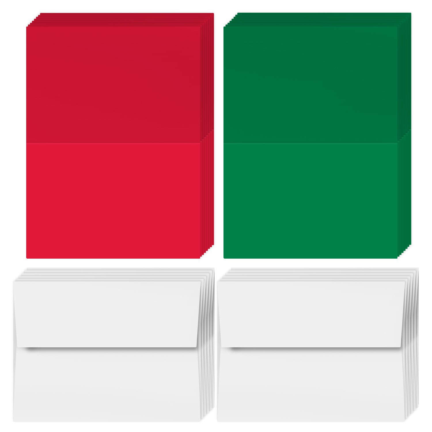 Blank Green and Red Holiday Cards