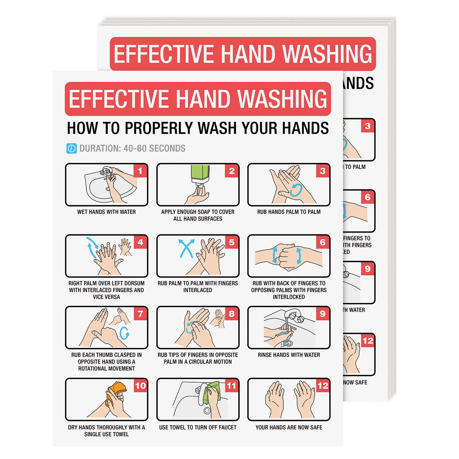 8 1/2 x 11 How To Wash Your Hands Poster