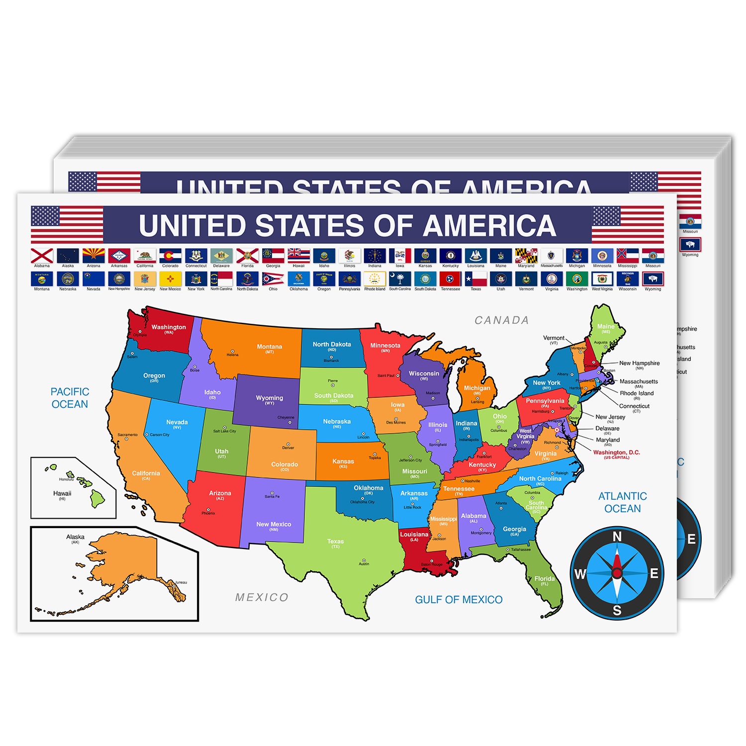 USA Map Cardstock