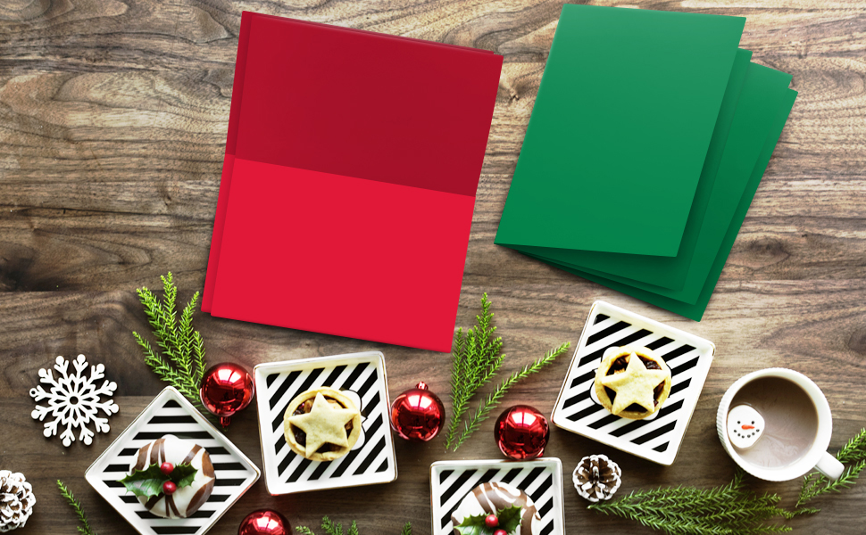 RED AND GREEN HOLIDAY GREETING CARDS